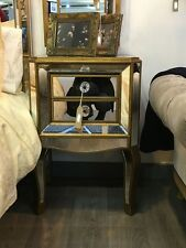 Pair of Gold Venetian Mirrored Glass Modern 2 Drawer Bedside End Table Cabinet