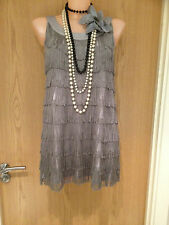 H&M Silver GreyTassel 20's Flapper Gatsby Cocktail Prom Cruise Dress Size Small