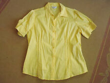 LADIES CUTE YELLOW BUTTON FRONT COTTON SHORT SLEEVE TOP BY CROSSROADS - SIZE 16