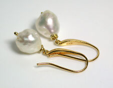 11x9mm AA++ quality baroque South Sea saltwater pearl & gold vermeil earrings