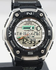 Casio AQW101-1A Mens Watch Thermometer Fishing Gear Moon Data Active Dial NEW