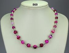 Striking 'striped' pink agate (stone) bead necklace, Tibetan silver spacers 20""