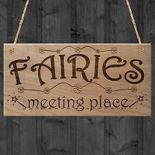 NEW - FAIRIES MEETING PLACE - Sweet Cute Funny Plaque Wooden Hanging Gift Sign