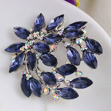 Women Practical Sapphire Blue Flower Brooch Pin Zircon Glass Alloy Party Jewelry