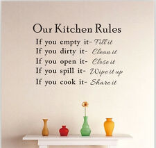 Removable  Kitchen Rules Quote Room Stickers DIY Vinyl Wall Art Decal Home Decor
