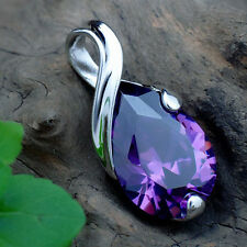 Women Silver Plated Gemstone Crystal Amethyst Stone Pendant For Necklace Luxury