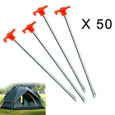 50 X NEW HEAVY DUTY DURABLE STEEL METAL PEGS HOOKS GROUND STAKES TENT CAMPING UK