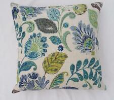 Divine Blues Teal Green Browns Linen Look European Cushion Cover 60cm