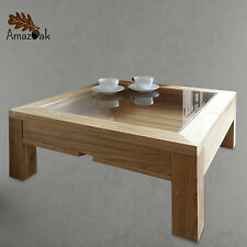 Display Coffee Table Glass Oak Wood Modern Square UK Handmade Amazoak 50cm