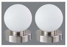 Touchtronik Tischleuchte Nachttisch Büro Deko Kugel weiß 2er Pack .#6282