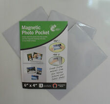 """Magnetic Photo Pocket Picture Photograph Holder, 6""""x4"""". Pack 3, Fridge Magnets"""
