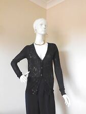 CANT TAKE MY EYES OFF DEBORAH  BLACK SEQUIN CARDIGAN  SIZE 8  DESIGNER