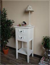 Beistelltisch weiß 2 Schubladen Telefontisch Nachttisch im Landhaus-Stil NEU