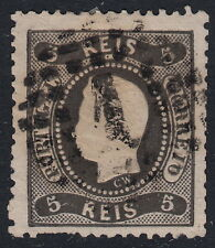 PORTUGAL:1867 King Luis 'Curved Label' 5reis black die 1 perf SG 52 used