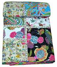 Indian Handmade Kantha Queen Quilt Patchwork Reversible Bedspread Blanket Throw