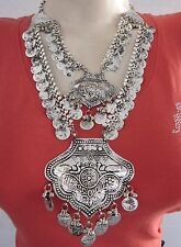 Turkish Coin Statement Necklace|Vintage Silver Tribal Gypsy Boho Costume Jewelry