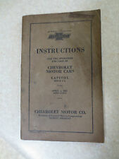 Original 1927 Chevrolet Capitol Series A A owners manual - Chev