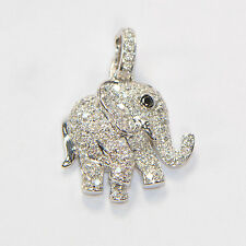 Diamant Anhänger 0,60 ct in 750er Weissgold Brillant Elefant 18 Karat