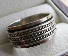 925 STERLING SILVER WIDE SPINNER BAND THUMB WOMENS MENS RING SZ Q US 8.5