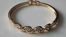 18ct gold filled with clear austrian crystal stones bracelet/bangle