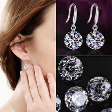 Women Great Sparkling Silver Plated Drop Round Dangle CZ Cubic Zirconia Earrings