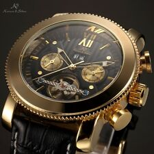 KS Mens Golden Black Automatic Date Day Tourbillon Leather Band Mechanical Watch