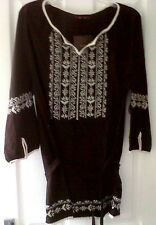 SAVOIR DARK BROWN & IVORY LADIES TUNIC / BLOUSE
