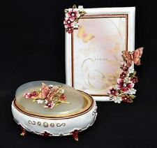 """Butterfly Resin Crystal Flowers - JEWELRY BOX & PHOTO FRAME 4""""x6"""" GIFT SET"""