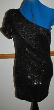 NEW Sz 8 Assymetric Top Black Wiggle Sequin Party Lined Dress