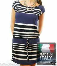 Navy Sailor Theme Capped Sleeves Adela Striped Dress with A Tied Waist IA-0442