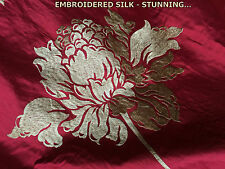1M ADELPHI  SILK CRANBERRY RED EMBROIDERED GOLD FLOWER LUXURY CURTAIN FABRIC