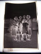Vintage Negative Family Group in Park Together Women Man & Children 1940s