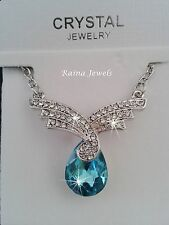 9K WHITE GOLD FILLED CYAN BLUE TEAR DROP SWAROVSKI CRYSTAL PENDANT NECKLACE