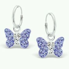 Childrens Girls Sterling Silver Hoop & Lilac & Clear Crystal Butterfly Earrings