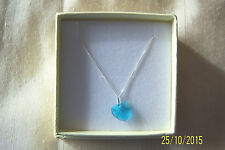 """TURQUOISE CRYSTAL HEART PENDANT & 925 STERLING SILVER 18"""" CHAIN BRAND NEW IN BOX"""