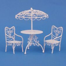 1/12 SCALE DOLLS HOUSE PATIO SET WHITE WIRE WITH 2 CHAIRS