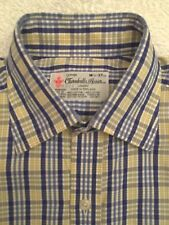"TURNBULL & ASSER yellow/blue check shirt. 14.5"" collar"
