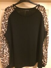 BNWT Ladies Plus Size 20/22 Black And Leopard Top From Zanzea