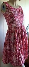 DANGERFIELD dress..size 8..red and white cotton..fit & flare/rockabilly/skater