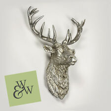 Large Wall Mounted Stags Head Sculpture Antique Silver Pewter Hanging Statue