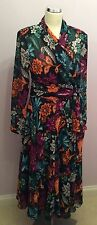 JAEGER BLACK FLORAL PRINT WRAP BLOUSE & MATCHING SKIRT  SIZE 12