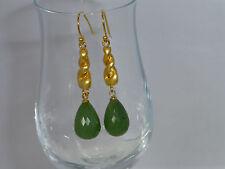Ohrringe Ohrhänger Gold mit Jade grün Tropfen facettiert UNIKAT *EO140408*