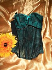 Masquerade by Panache 4387 teal/black underwired padded boned corset/basque 30D