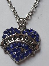 BLUE  GRANDMA FAMILY GIFT CRYSTAL LOVE HEART PENDANT RHINESTONE NECKLACE