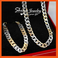 18K GOLD FILLED CURB RINGS LINKS MENS WOMENS SOLID CHAINS NECKLACE BRACELET SET