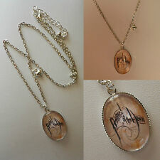"""Fandom necklace glass oval pendant panic at the disco 17"""" 'handmade' GIFT"""