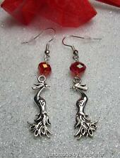 Phoenix Earrings with red crystal silver plated wires mythical fantasy jewellery