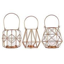 Laternen Set 3 tlg. Metallgeflecht Kupferfarben / Teelichthalter, Windlicht