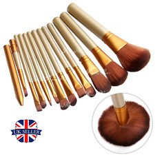12pcs Pro Kabuki Make up Brush Set Foundation Blusher Powder Cosmetic Brushes UK