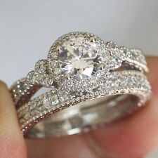 4.02CT ROUND CUT SOLITAIRE ENGAGEMENT RING AND WEDDING BAND 14CT WHITE GOLD